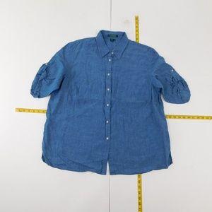 Lauren Ralph Lauren 1X Blue Button Down Top  D-8-9